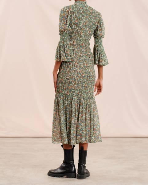 Bilde av byTIMO Georgette Smocking Dress Green Garden